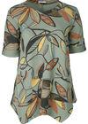 Tunika-T-Shirt aus Sweatshirt-Stoff mit Blattmuster-Print, Khaki