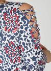 Tunika t-shirt mit überkreuzten Details an den Ärmeln, Denim