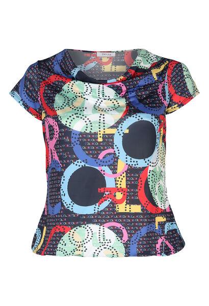 T-Shirt aus kühlem Material mit Wasserfallkragen - Multicolor