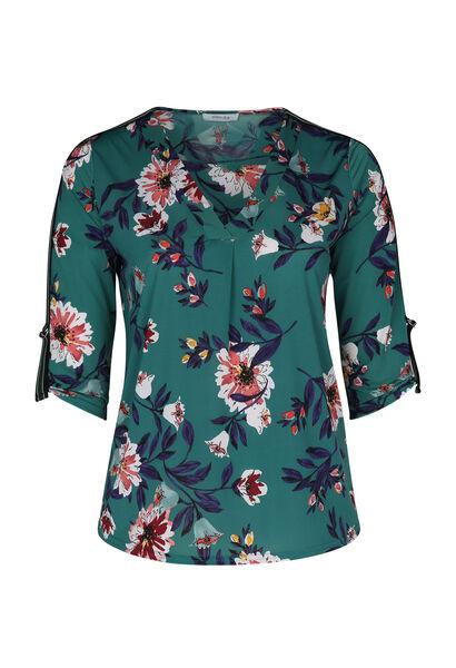 Mit Blumen bedrucktes Bluse mit 3/4-Ärmeln - Grün