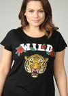 """T-Shirt mit Tierkopf-Print und Schriftzug """"wild"""", Schwarz"""