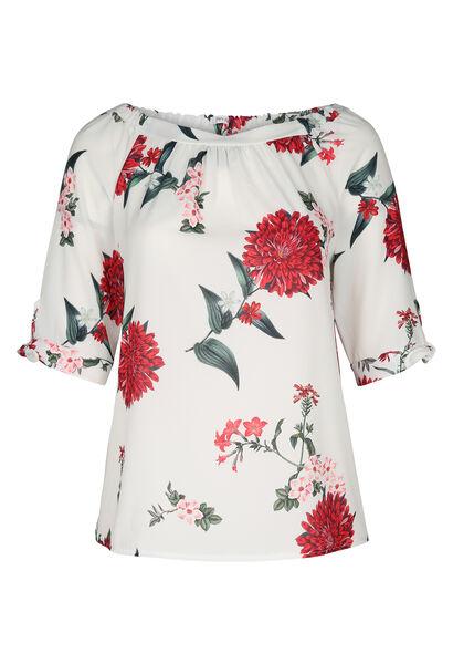 Bluse aus Voile mit Blumen-Print - Rot