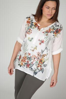 Bedruckte Voile-Bluse, naturfarben