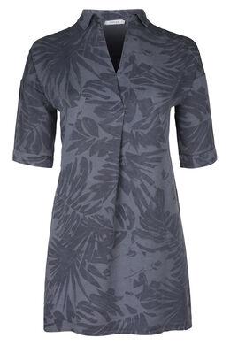 Tunika-Kleid aus Lyocell mit tropischem Print, Marine