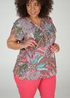 Im Blattmuster-Print bedruckte Bluse mit Bindebändern mit Quasten, Multicolor