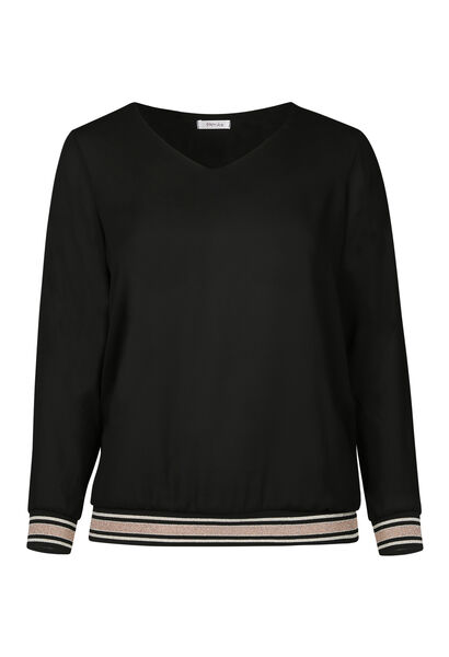 Bluse aus Voile mit Lurex-Streifen - Schwarz