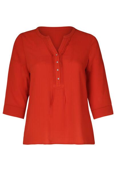 Einfarbige Bluse mit Knöpfen am Ausschnitt - Orange