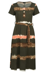 Langes Kleid mit Batik-Druck