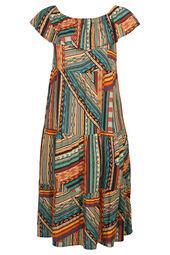 Langes Kleid mit Wax-Print