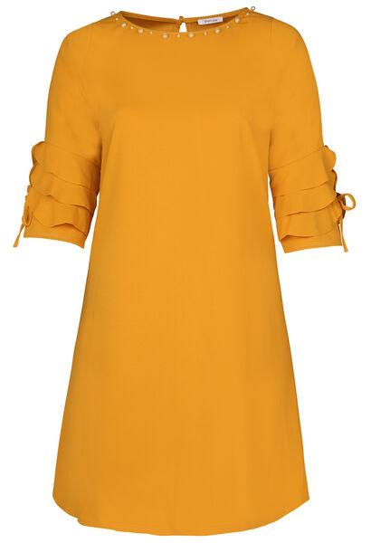 Kleid mit gerüschten 3/4-Ärmeln - ocker