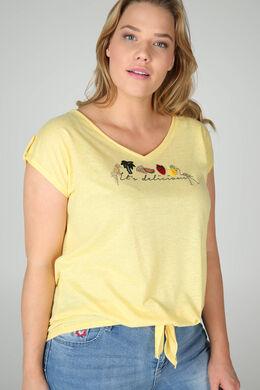 """T-Shirt mit Aufdruck """"It's delicious"""" und Stickerei, Gelb"""