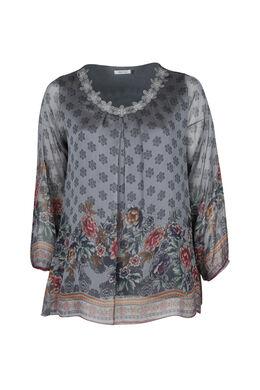 Weich fließende Bluse mit Blumendruck, Pflaume