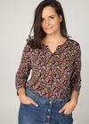 Mit Blättern bedrucktes T-Shirt , Multicolor