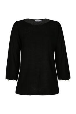 Pullover mit Perlenbesatz am Ärmel, Schwarz