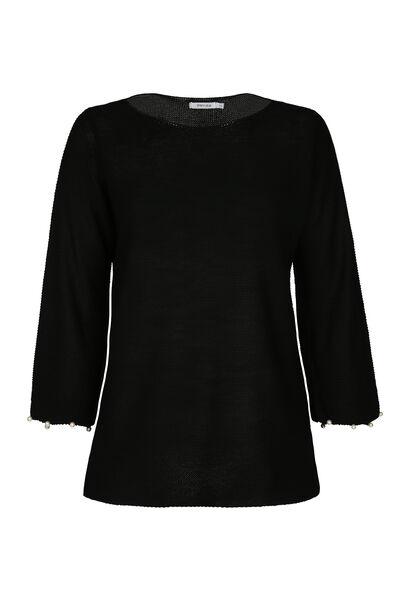 Pullover mit Perlenbesatz am Ärmel - Schwarz