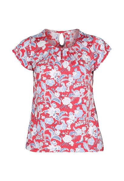 T-Shirt aus kühlem Material mit Blumen und Blättern im Relief-Druck - Orange
