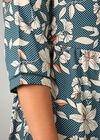 Hemdkleid mit Blumen-Print, Türkis dunkel
