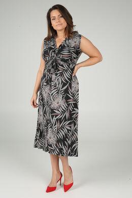 Langes Kleid mit Palmenblätter-Rubberprint, Schwarz