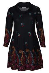 Kleid mit Blumen-Print und halsfernem Rollkragen
