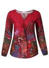 Mit Blumen und Blättern bedrucktes Tunika-T-Shirt , Bordeaux