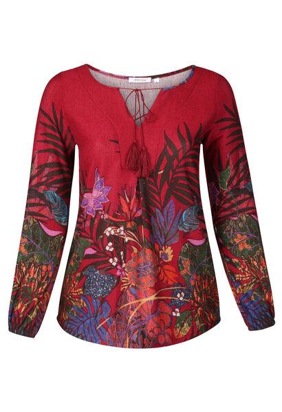 Mit Blumen und Blättern bedrucktes Tunika-T-Shirt  - Bordeaux