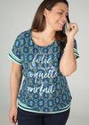 Wax-Print T-shirt mit Motto-Aufdruck, Grün