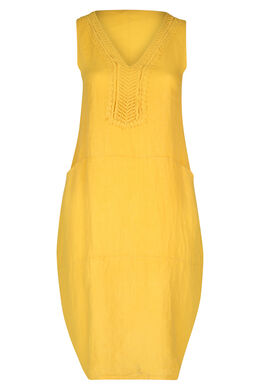 Mittellanges Leinenkleid, Gelb