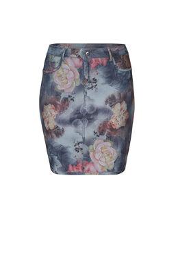 Omkeerbare jeans-Rock mit Blumen-Print, Multicolor