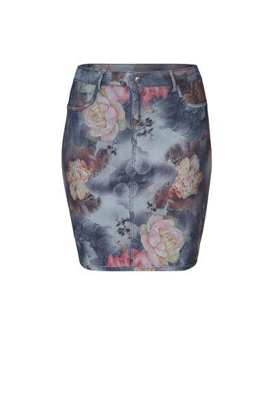 Omkeerbare jeans-Rock mit Blumen-Print - Multicolor