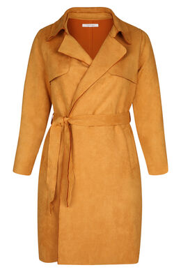 Trenchcoat in Wildleder-Optik, ocker