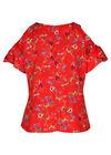 Schulterfreie Bluse mit Rüschen, Rot