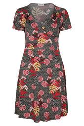 Mit tropischen Blumen bedrucktes Kleid