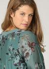 Bluse mit Blumenaufdruck und besticktem Kragen, Grün