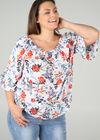 Bluse mit elastischem Ausschnitt und Blumen-Print, Multicolor