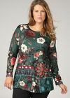 Mit großen Blumen bedrucktes Tunika-T-Shirt, Türkis dunkel