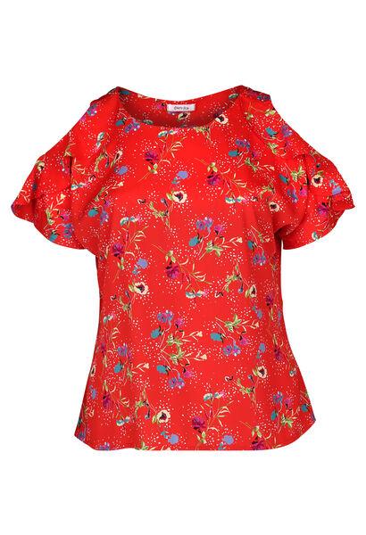 Schulterfreie Bluse mit Rüschen - Rot