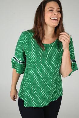 Bluse mit Tupfendruck und Rüschenärmeln, Grün