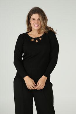 Pullover mit drei tropfenförmigen Aussparungen und Strass am Ausschnitt, Schwarz