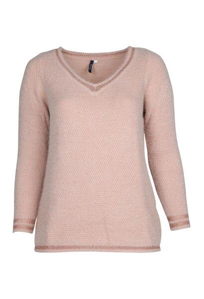 Pullover mit V-Ausschnitt und Lurex-Fasern - Rosa