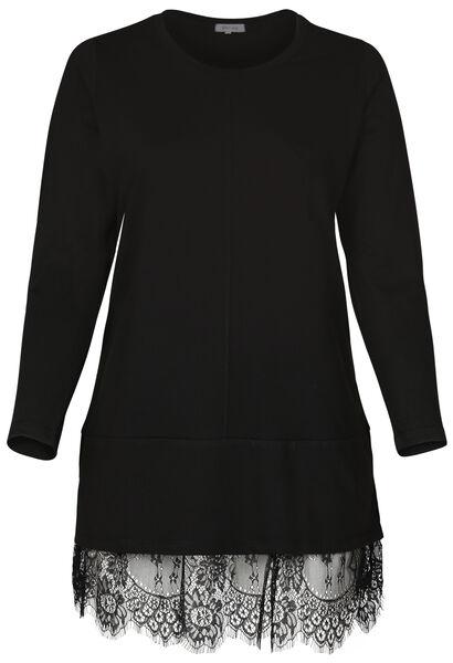 Kleid aus Maschenware mit Spitzensaum - Schwarz