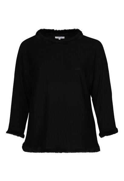 Pullover mit Kunstpelz-Detail - Schwarz