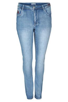 Slim-Fit-Jeans mit Stickerei, Denim