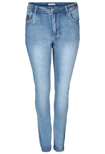 Slim-Fit-Jeans mit Stickerei - Denim