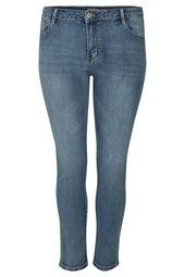 Schmale 7/8-Jeans mit Strass-Streifen