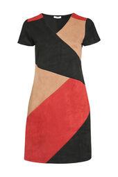 Patchwork-Kleid in Wildleder-Optik
