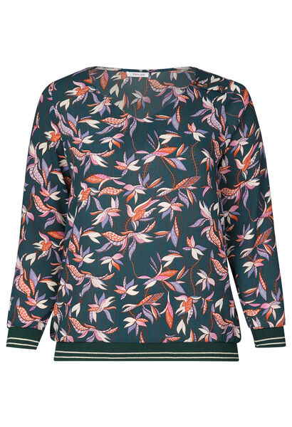 Bluse aus Voile mit Blumendruck - Grün