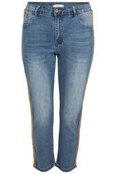 Slim-Fit-Jeans mit neonfarbenen Strass-Streifen