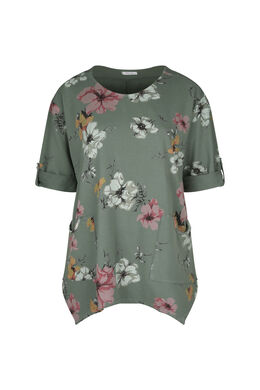 Tunika-T-Shirt aus Sweatshirt-Stoff mit Blumen-Print, Khaki