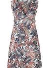Kleid aus kühlem Material mit Blattmuster-Print, Marine