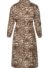 Langes Kleid mit Leoparden-Print, Kamel